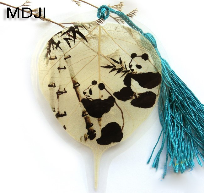 Natural leaf veins bookmarks Chinese wind panda blessed(China (Mainland))
