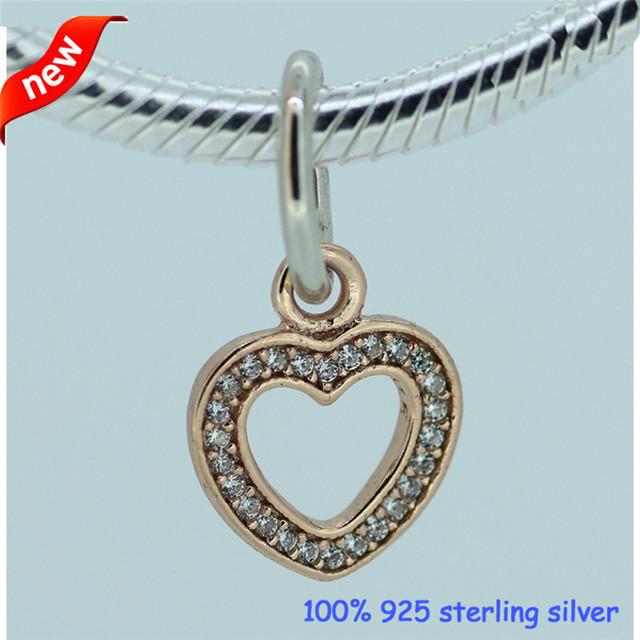 Настоящее 925-Sterling-Silver роуз золотой мотаться CZ камни в форме сердца бусины подходит европейский женщина стиль ювелирный шарм браслеты змея цепи