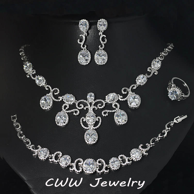 Luxury 4 Pcs Wedding Party Jewelry Sets White Gold Plated CZ Diamond Bridal Necklace Earrings Bracelet And Ring Set T203