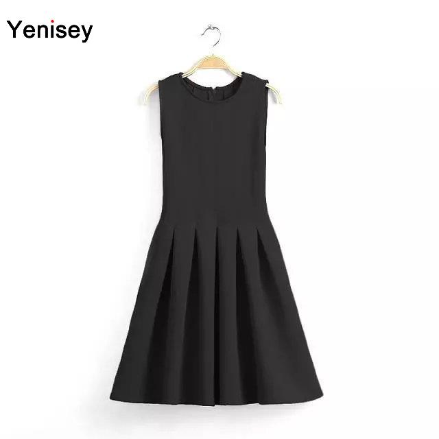 2015 Real Robe Plus Size Bb - 40 European And American Wind Fashion Round Collar Sleeveless Vest Pure Color Pleated Dresses 0723(China (Mainland))