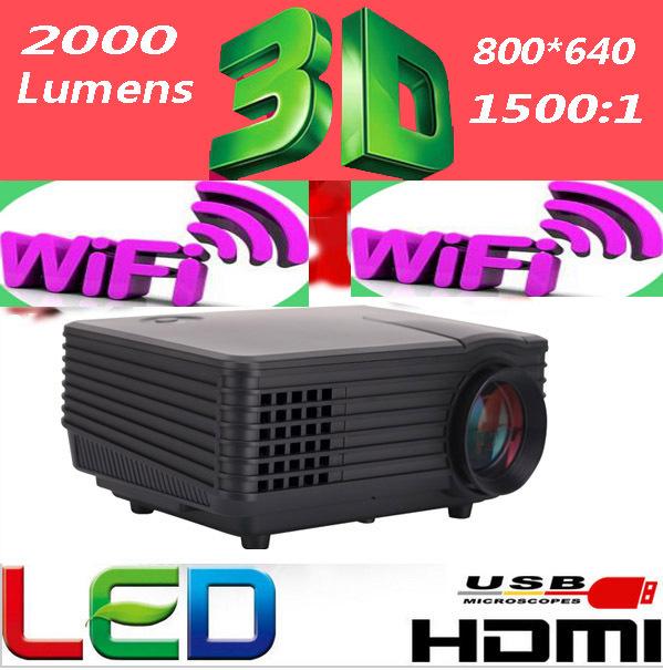 2000 lumens 800*480pixels newest LED mini pocket HD projector.with HDMI,VGA,TV(China (Mainland))