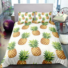 BOMCOM 3D Digital Printing duvet cover tropical fruits seamless pattern considerable pineapple white Bedding Set 100% Microfiber(China)