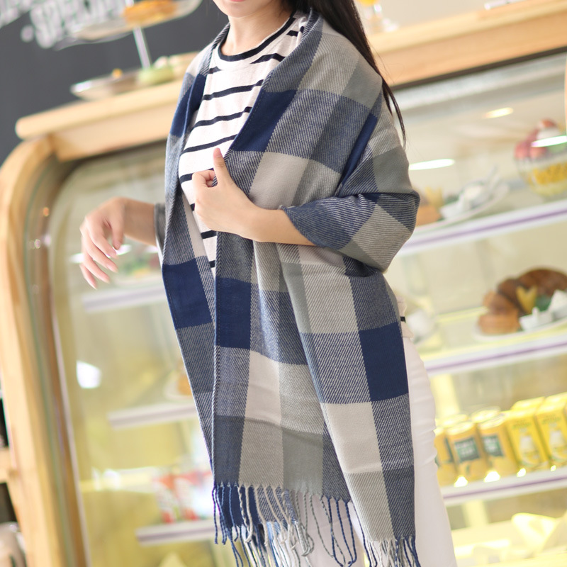2015 New Fashion Woman Wool Scarf Casual WarmScarf Plaid Thick Scarves Knitted Scarf Women Winter Scarves