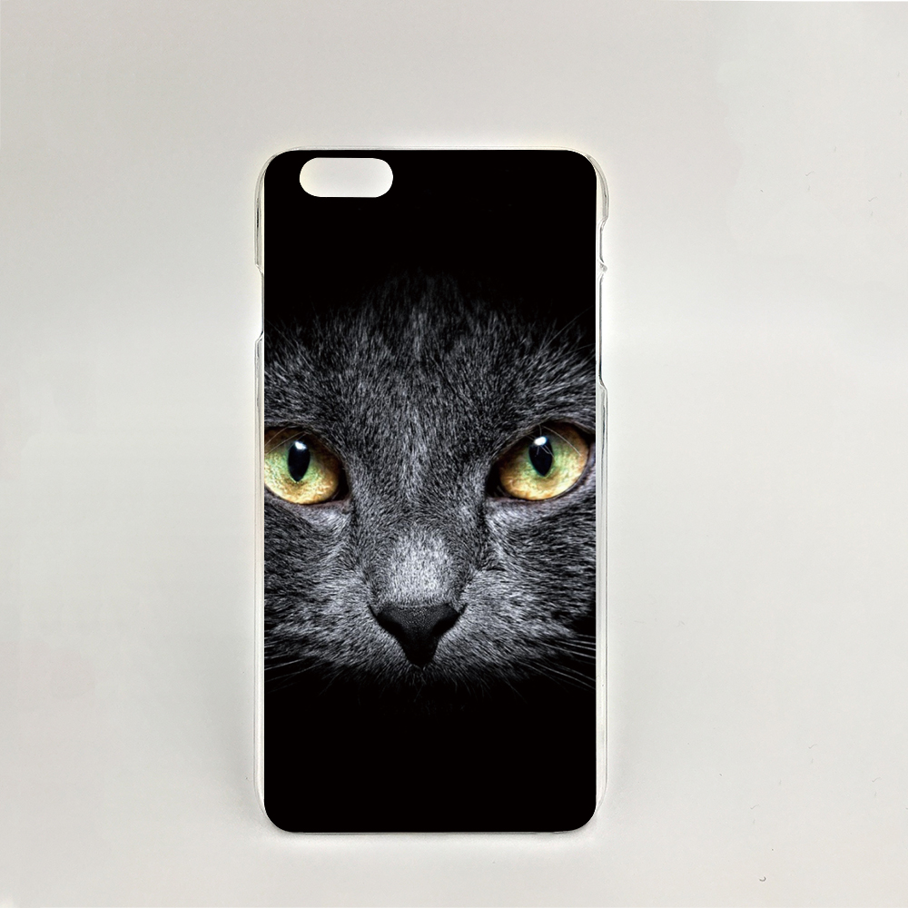 09548 Black Cat Cool Hard transparent Cover cell phone Case for iPhone 4 4S 5 5S 5C 6 6S Plus 6SPlus(China (Mainland))