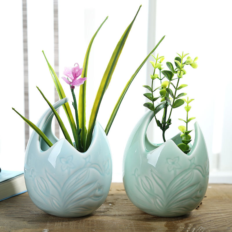 Creative Orchid Carving Celadon Porcelain Egg shaped Flower Vase Decorative Ceramic Plant Pot