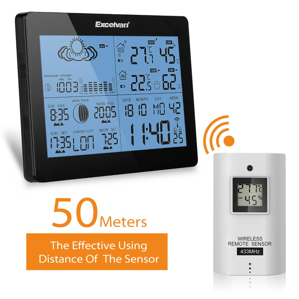 EXCELVAN Wireless Weather Station With Forecast/Temperature/Humidity Indoor Outdoor with remote sensor (EU)<br><br>Aliexpress
