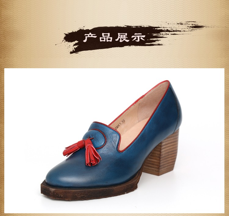 2017 Genuine Leather Women Pumps Shoes High Heels Tassel Slip on Cowhide Chunky Heels Vintage Style