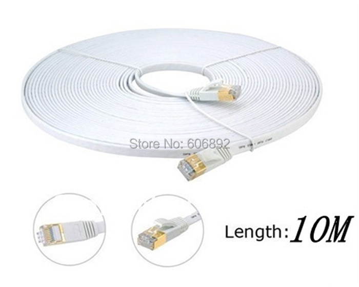 New 100% Network Cable Ethernet Cable Cat7 RJ45 M/M Thin High Speed Flat Shielded Twisted Pair Internet Lan 10M Free shipping(China (Mainland))