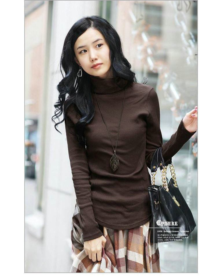 2012 New,korean/japan Style Women's Fashion Long Sleeved Turtleneck Slim T Shirst Top Clothes,6colors,cheap Price X2255(China (Mainland))