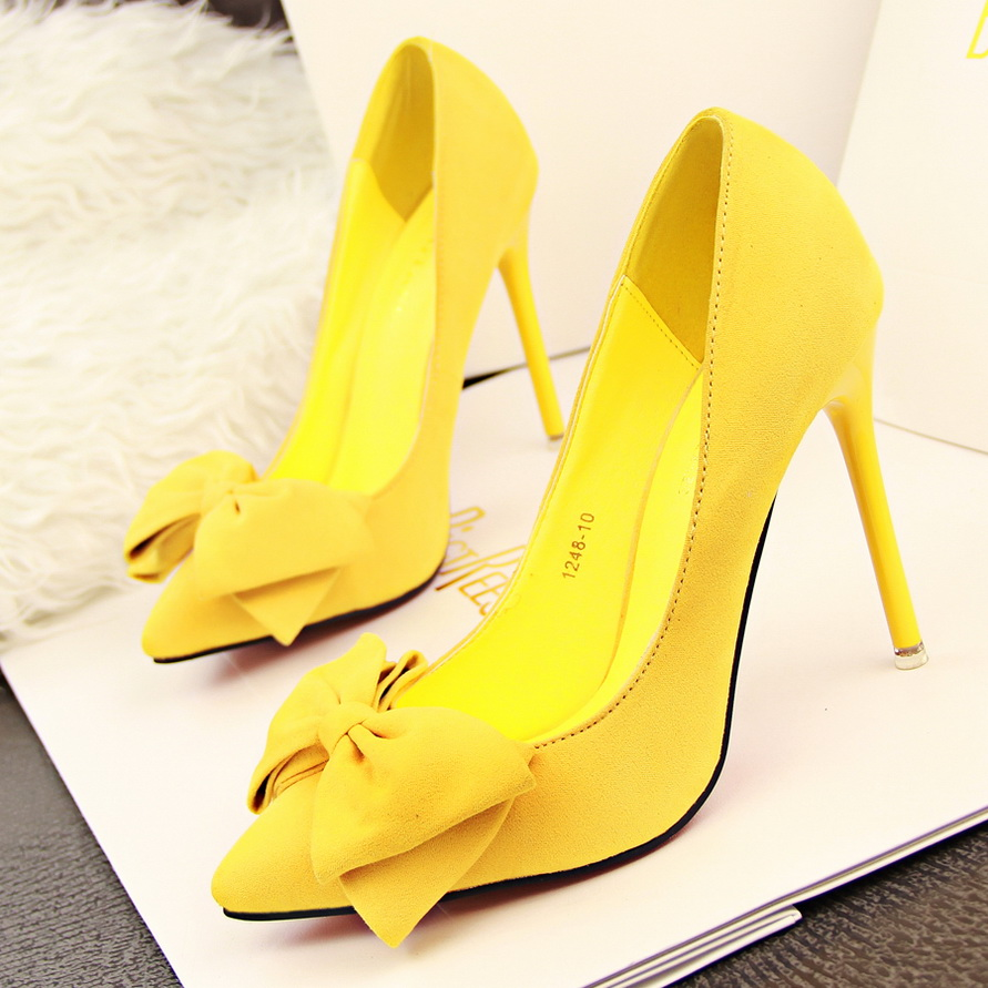 yellow suede heels is heel