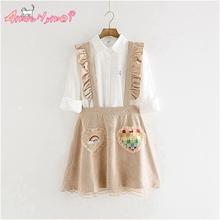 Buy Amourlymei 2017 Spring Women Skirt Sweet Ruffles Solid Vintage Corduroy Straps Mini Skirt Cute Japanese Style Mori Girl Lolita for $19.98 in AliExpress store