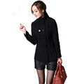 Winter Coat Women Autumn Spring Wool Slim Long Sleeve Double Breasted Decoration Casual Knitted Coat