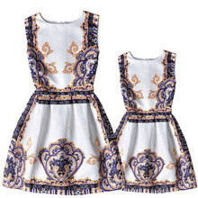 2016 European style girls&women costume fashion print family clothing for daughter&mother summer sleeveless family dresses girls