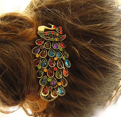 P5182 Free shipping vintage peacock headwear hairpins hair alligator Clips accessories for women