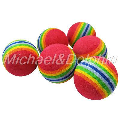 Free Shipping 6pcs Golf Swing Training Indoor Practice Balls Rainbow Sponge Foam Ball(China (Mainland))