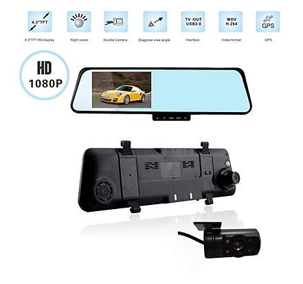 1920 x 1080P FULLHD Rearview Mirror Dual Lens Car DVR 4.3 inch LCD Blue Glass 2 Cameras,G-Sensor, Motion Detection - fan qinhai's store