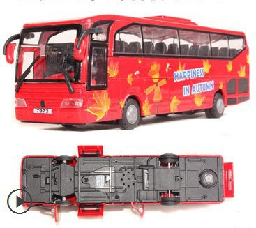 2015 5 doors bus toys children best gift car models 1:50 large sightseeing bus alloy car school bus model(China (Mainland))