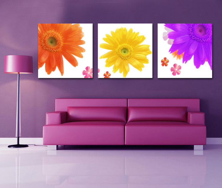 3 panel wall art decorative color flower canvas paintings for 3 panel wall art