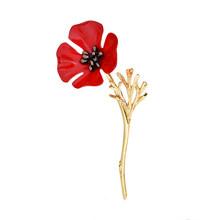 1PC Baru Bros Syal Poppy Bunga Emas Merah Kualitas Tinggi Yang Indah Populer Perak Unik Bros Wanita Pakaian Kancing(China)