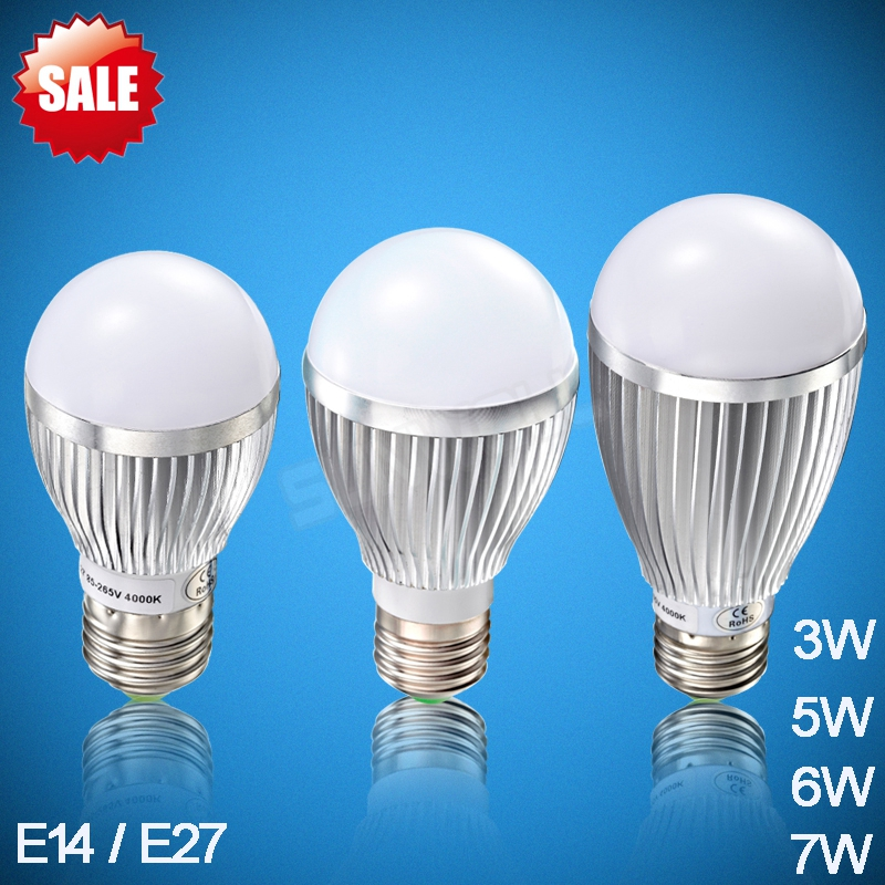 dimmable 3w 5w 6w 7w led bulb e27 3000k 4000k 6000k aluminum led light bulbs e14 lamp lighting for home appliance 85-265v(China (Mainland))
