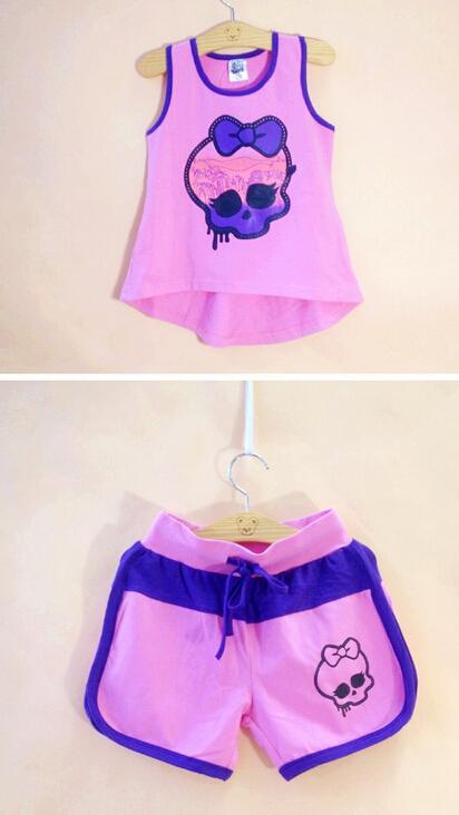 New Arrivel 2015 Kids Monster High cloth set,Kids Casual t Shirt+Pant,Kids Summer t shirt set Classic Design 6-16Year(China (Mainland))
