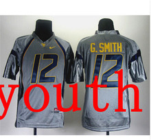 Nike Youth West Virginia Mountaineers Geno Smith 12 Grey College T-shirt Jersey(China (Mainland))