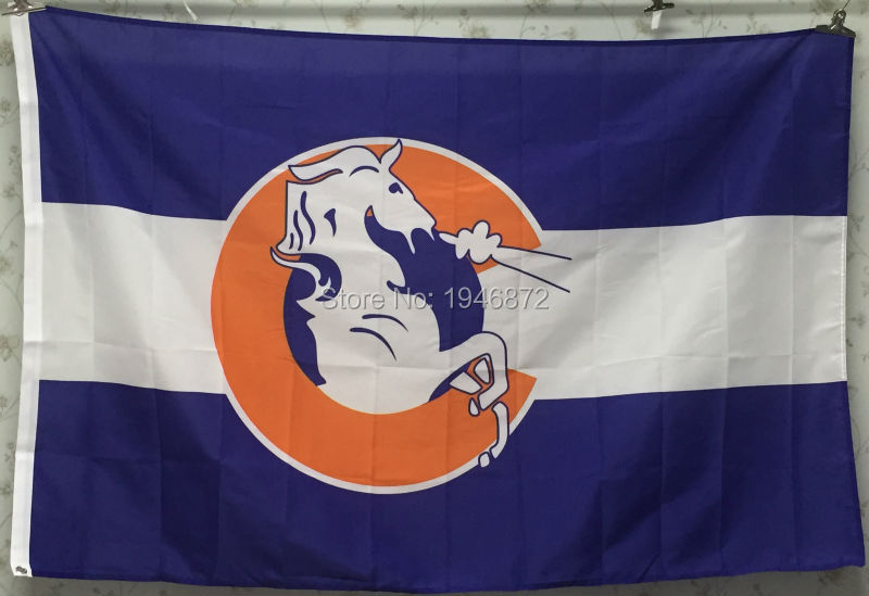 Denver Broncos Throwback C Logo Flag 3X5FT Football Hockey Baseball Flag(China (Mainland))