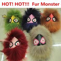 Natural fur Pom Pom real fur monster doll keychain for karlito charm bug bags golf cart bag pendant strap