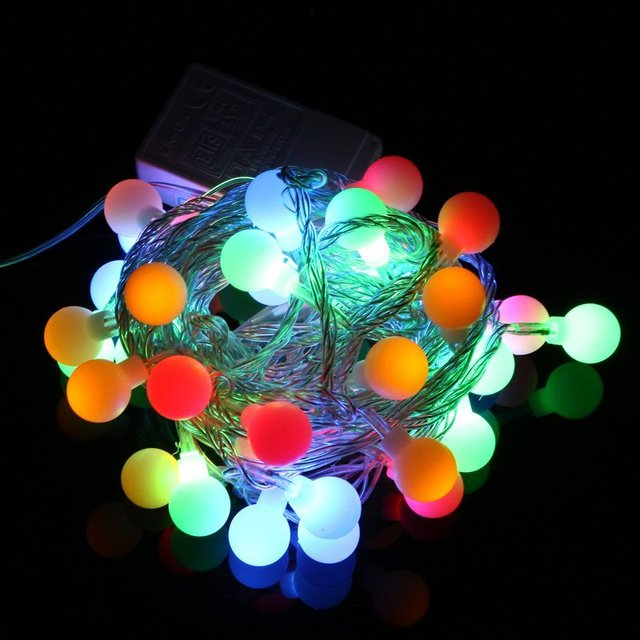 EU Plug 220V RGB LED String 50 LED 5M Colorful Christmas Light /Decoration String Lights with DC Joint Free Shipping