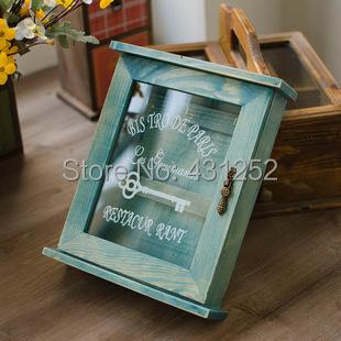 Storage Boxes & Bins zakka vintage wooden wall mounted key box holder rack hooks hangers cabinets organizer for home decoration(China (Mainland))