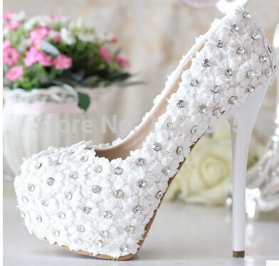 Wholesale New arrival fashion banquet super princess white crystal diamond flowers wedding knight bridal heels shoes EU34-39(China (Mainland))