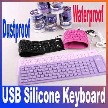 USB silicone keyboard, foldable, waterproof and dustproof keyboard,USB flexible keyboard free shipping