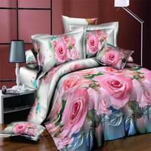 BEST.WENSD Quilt covet sets King Size 3D Rose Bedding Set Bedclothes 4pcs Family Duvet Cover Set 1 * Sheets 1 * Pillowcase *2(China)