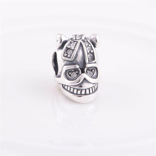 Аутентичные стерлингового серебра 925 бусины череп с кристалл женщины шарм ювелирные изделия DIY подходит для Chamilia европейский шарм браслет