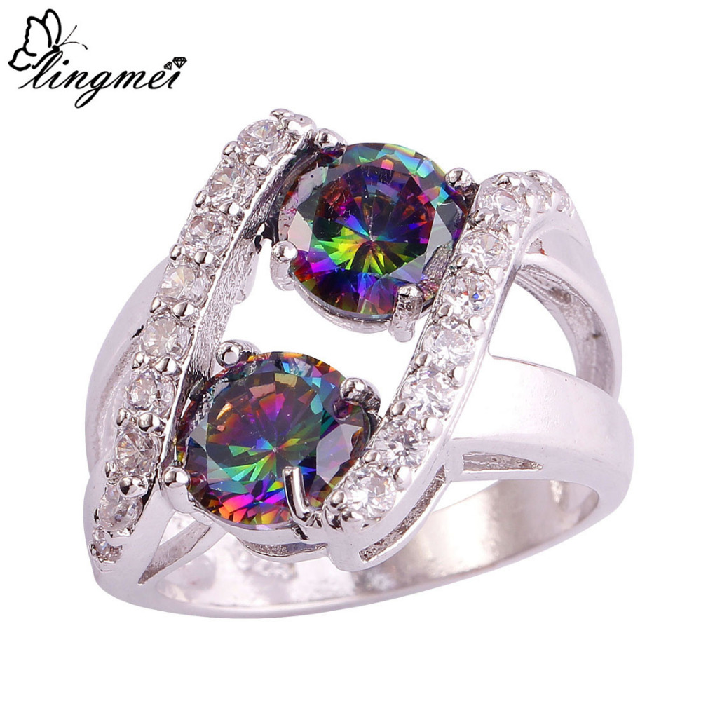 lingmei Fashion Party Round Cut Mysterious Jewelry Rainbow & White Topaz Silver Ring Size 6 7 8 9 10 11 12 13 Gift - LingMei jewelry Co., Ltd. store