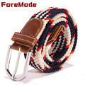 ForeMode 2016 The New Brand 39 Color Elastic Woven Elastic Casual Business Belt Men Belt Canvas