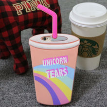 Krusty Spongebob Batman Wonder Woman Unicorn Tears Starbuck Coffee Skinnydip Straw Cup Silicone Phone Case for iPhone 5 6S 6Plus