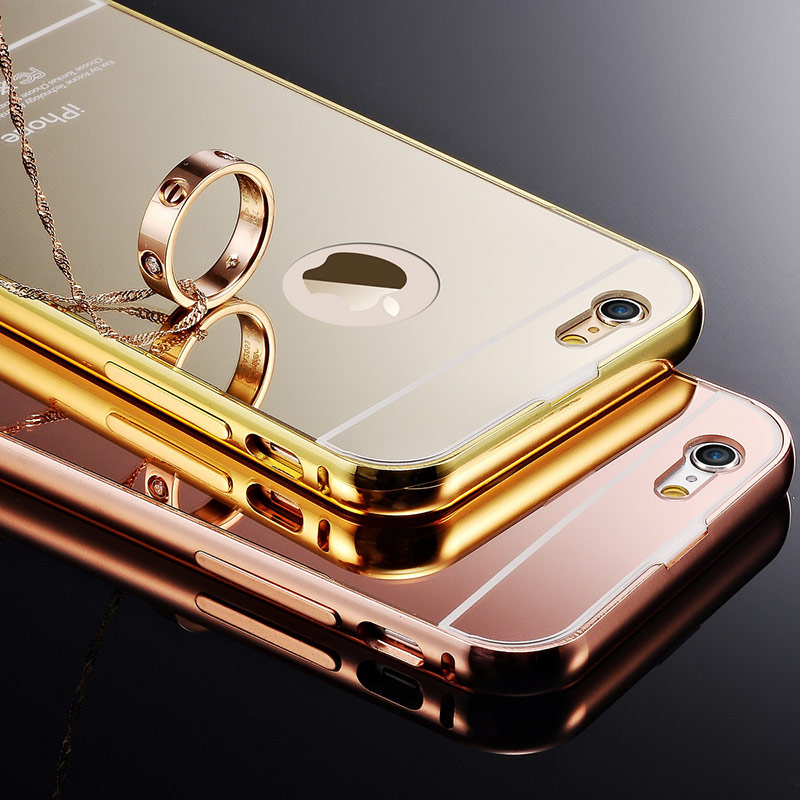 Mirror Back + Aluminum Case iPhone 6 / 6S 4.7 inch Luxury Coque Rose Gold Bumper Hard Cover Fundas iPhone6 Phone Bag - Tomkas Direct Store store