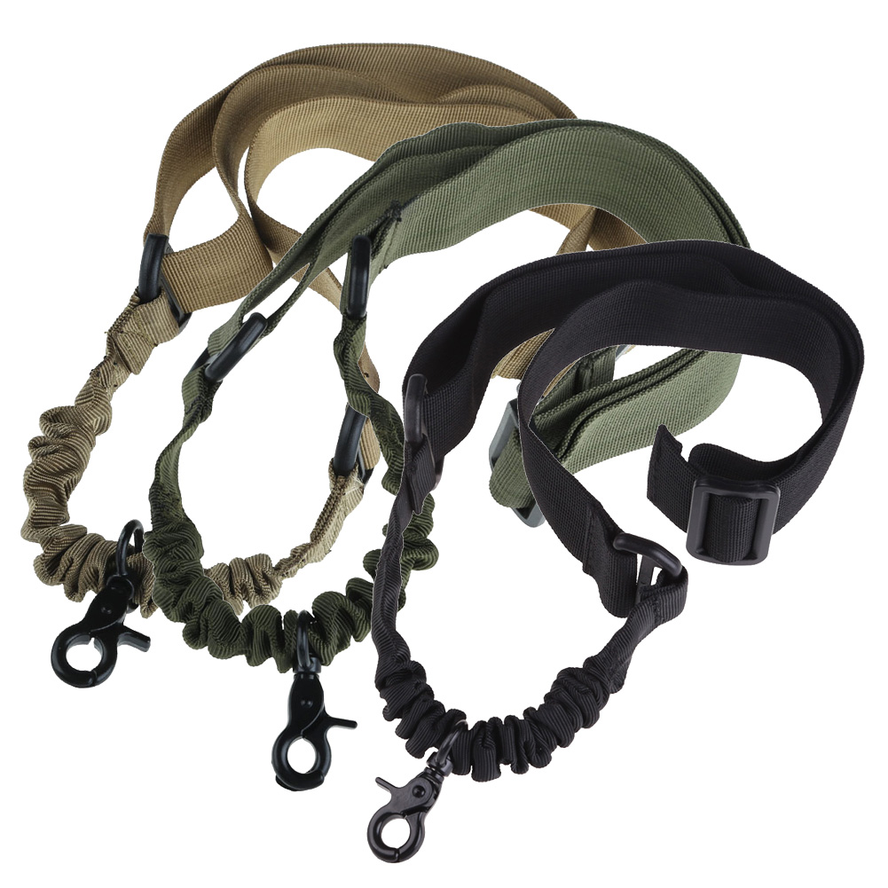 Outdoor Jungle Military Tactical Strap One Single Point Adjustable Bungee Sling System Strap Camping Carabiner Lanyard HS(China (Mainland))