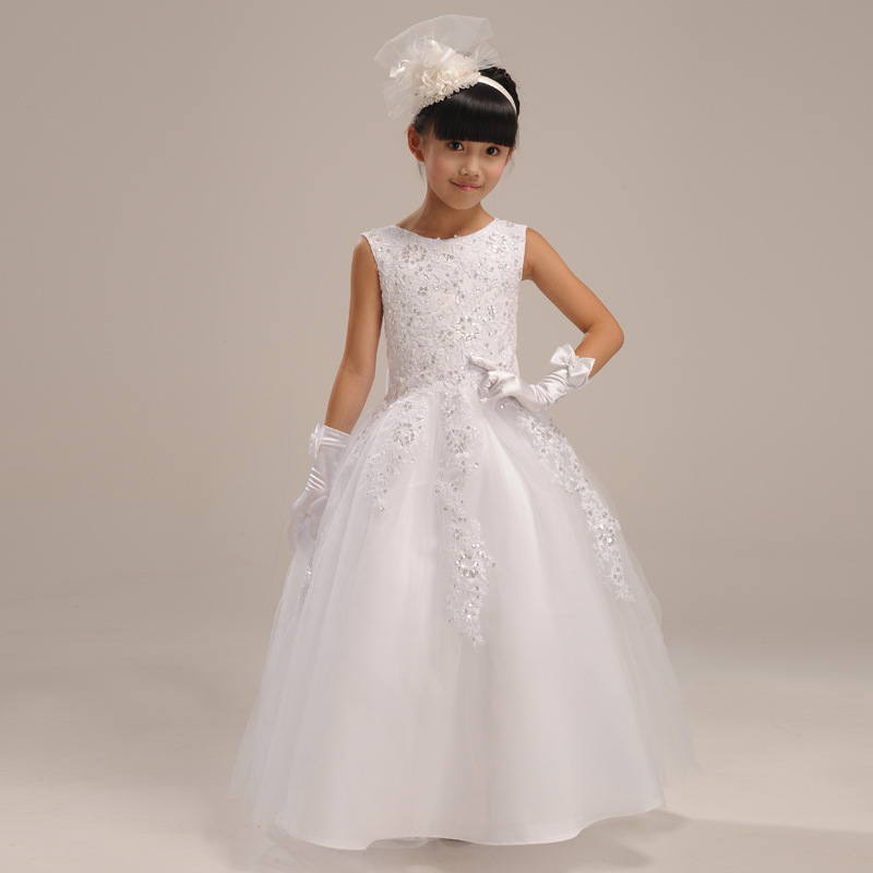2016 Kids Flower Baby Girl Dress Bridesmaid Clothes Lace Ball Gown Fancy White Princess Party