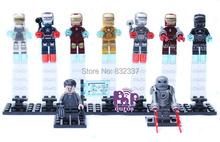 Super Heroes Minifigures Ironman bloques de construcción con lego juguetes de los ladrillos para los niños 9 unids/set