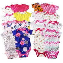Retail 0-2yrs 5pcs/pack short-Sleeved Baby Infant cartoon bodysuits for boys girls jumpsuits Clothing 2014 new free shipping(China (Mainland))