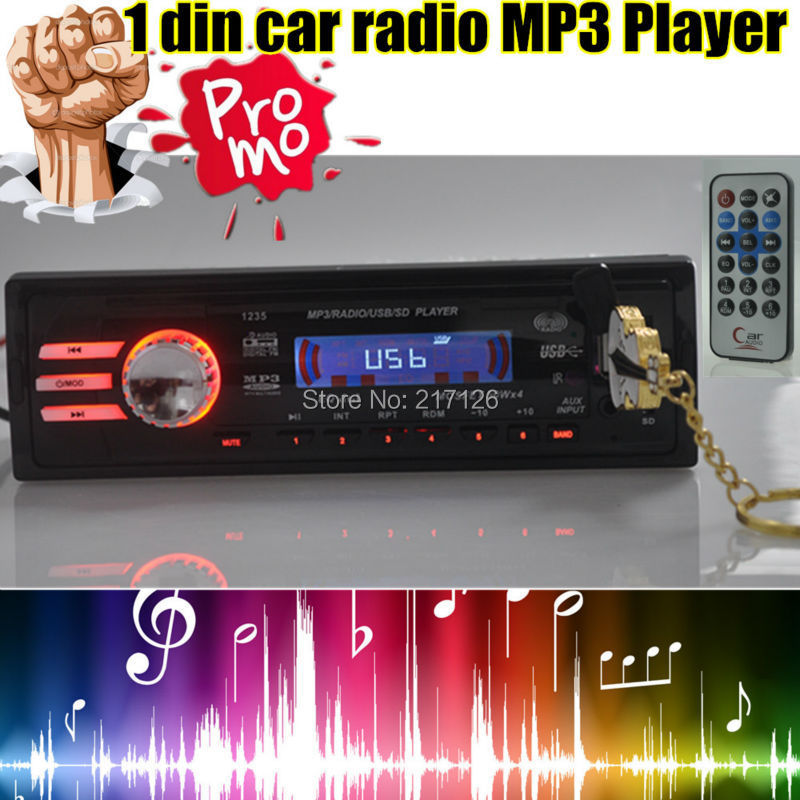 New 12V Car Radio player car audio auto Stereo FM Receiver MP3 5V Charger USB/SD card/AUX in Car radios In-Dash 1 DIN size(China (Mainland))