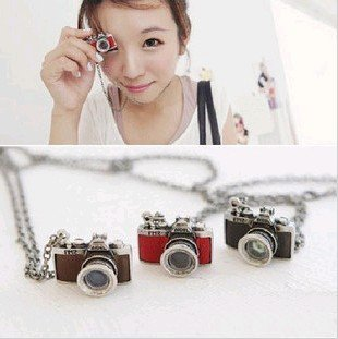 Promotion fashion vintage style camera long necklace sweater chain 2 colors X4227