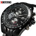 2017 New Curren fashion auto Date full steel Watch Military Man Business Casual quartz Wristwatch Brand
