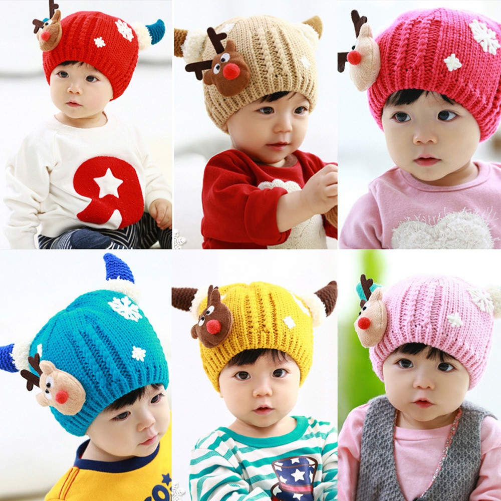 Baby Beanie Hat Knit Newborn Photography Props Crochet with Cashmere Warm Christmas Deer and Ox Horn Wool Cap(China (Mainland))