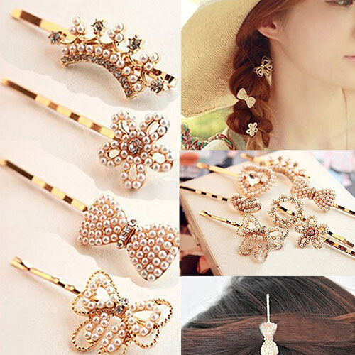 Womens Hairpin Flower Pearl Heart Beauty Barrette Lady Crystal Rhinestone Hair Clip Bow Golden Accessories(China (Mainland))