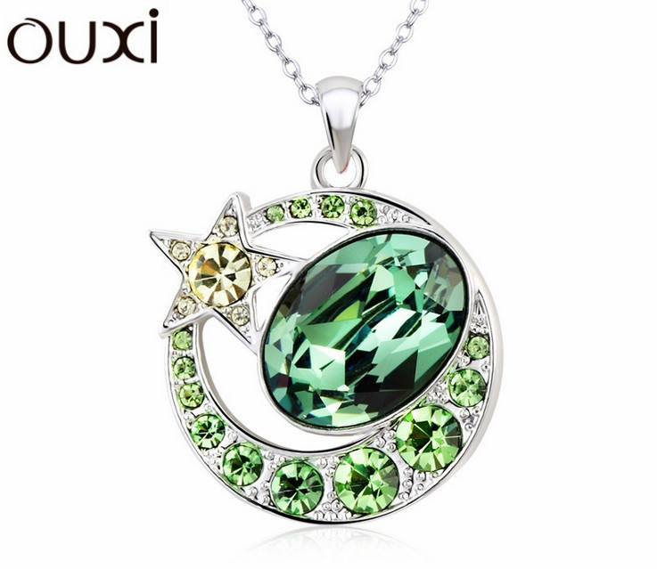 Best Quality Women Necklace Pendant Jewelry Star Moon Nacklace Made with Swarovski Elements Crystals from Swarovski OUXI NLA263(China (Mainland))