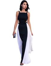 Summer Dress Vestidos Backless Long Beach Dress Maxi Dress High Waist Chiffon Patchwork Dress plus size women clothing 34(China (Mainland))