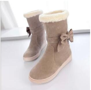 The new winter 2015 bind bow ug boots woman pure color cotton boots to keep warm antiskid women's cotton shoes(China (Mainland))